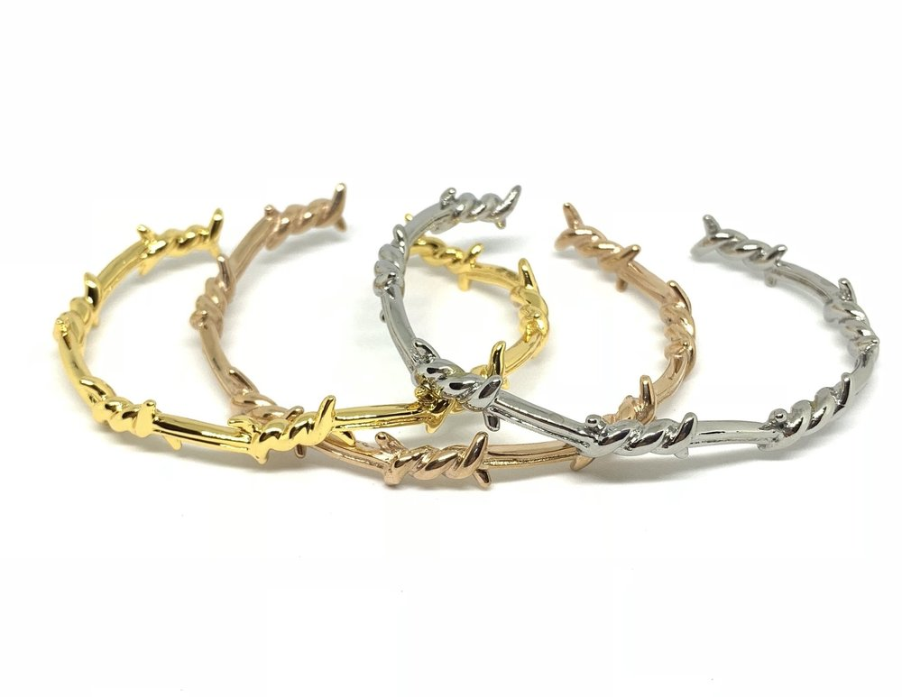Barbed Wire Bracelet (14k White Gold, Gold or Rose Gold) - Kuyashii Jewelry