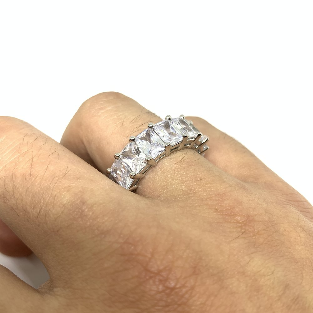 Iced Baguette Ring (14k White Gold) - Kuyashii Jewelry