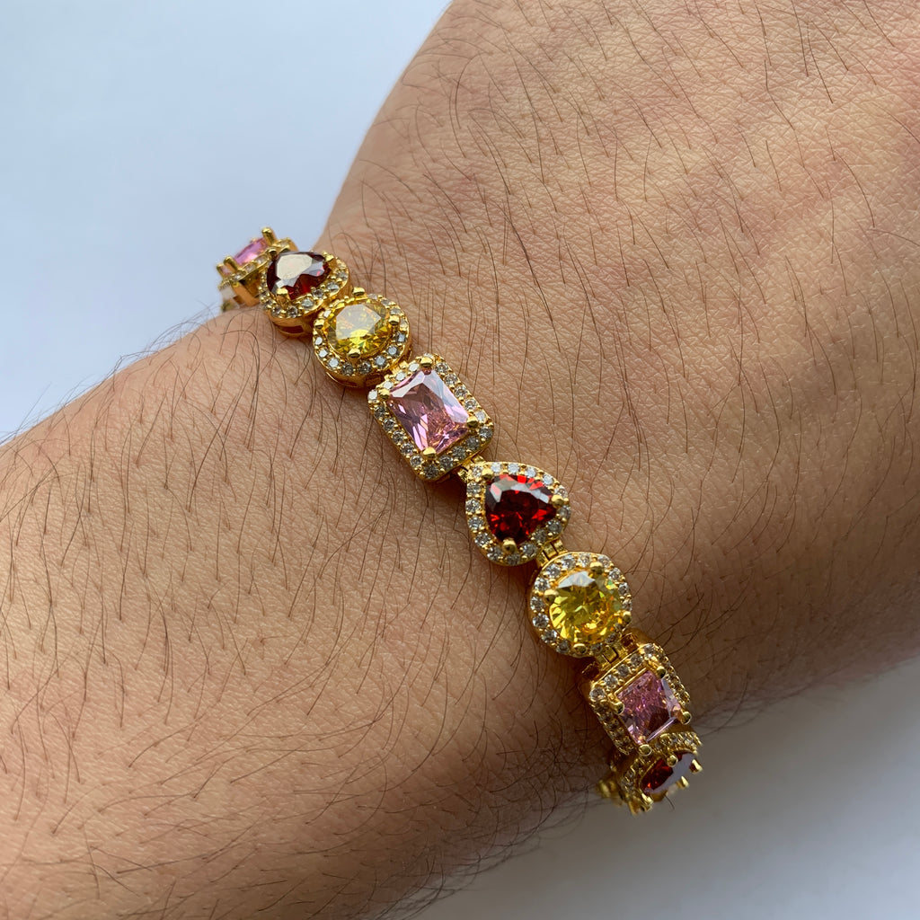 Multicolor Royalty Bracelet (18K Yellow Gold/Brass)