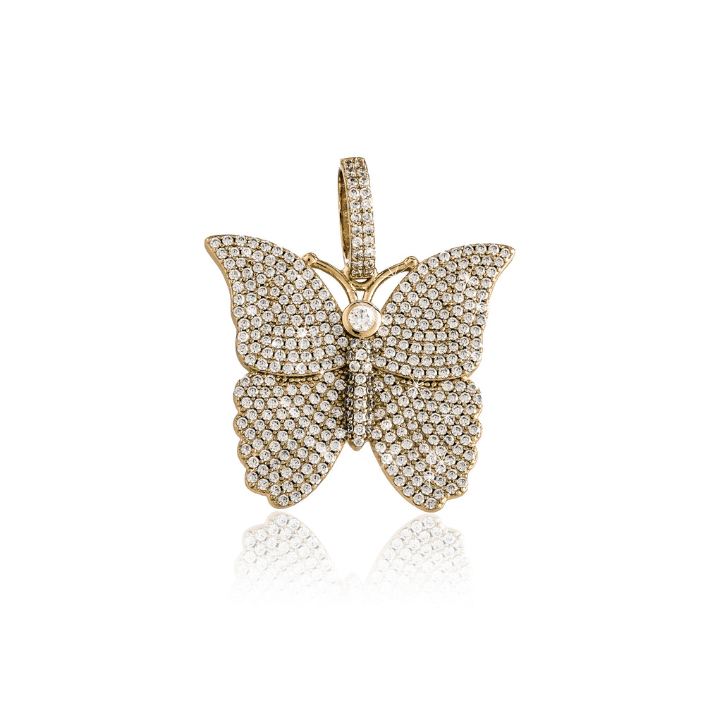 Iced Butterfly Pendant (18K Yellow Gold/Brass)