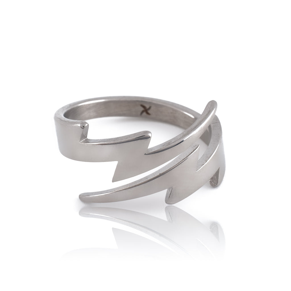 Lightning Bolt Ring (18K White Gold/Stainless Steel)