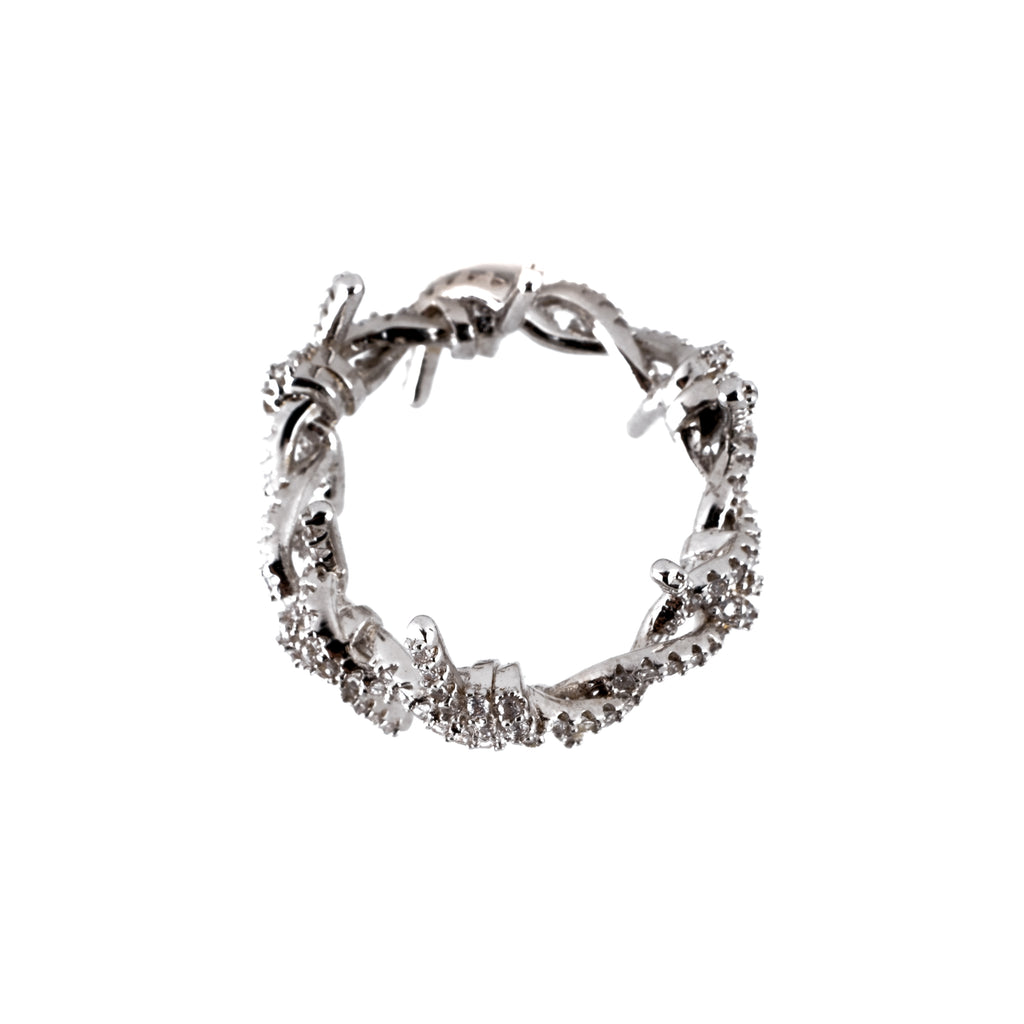 Iced Out Barbed Wire Ring (18K White Gold/Brass)