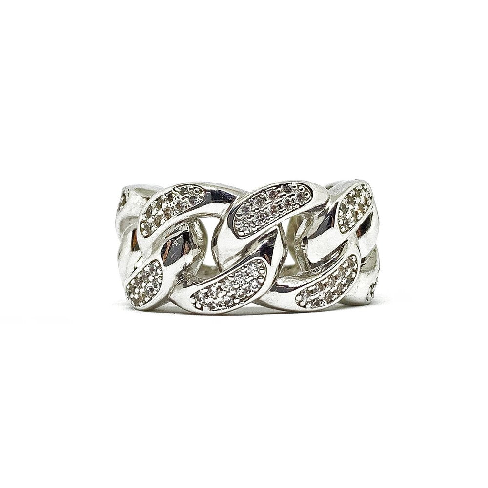 Iced Cuban Ring (14k White Gold Plated) - Kuyashii Jewelry