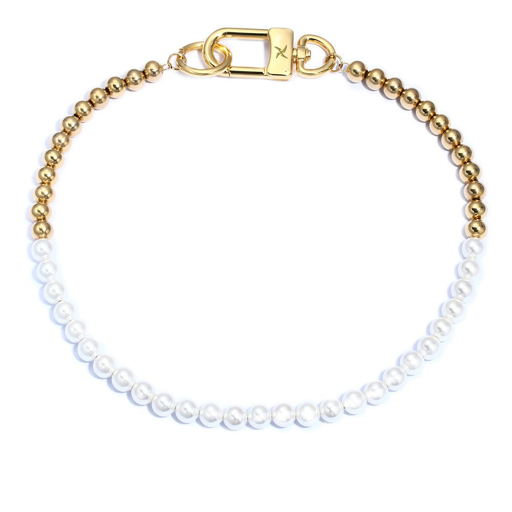 8mm Ball Chain/Glass Pearl Necklace (18K Yellow Gold/Stainless Steel)