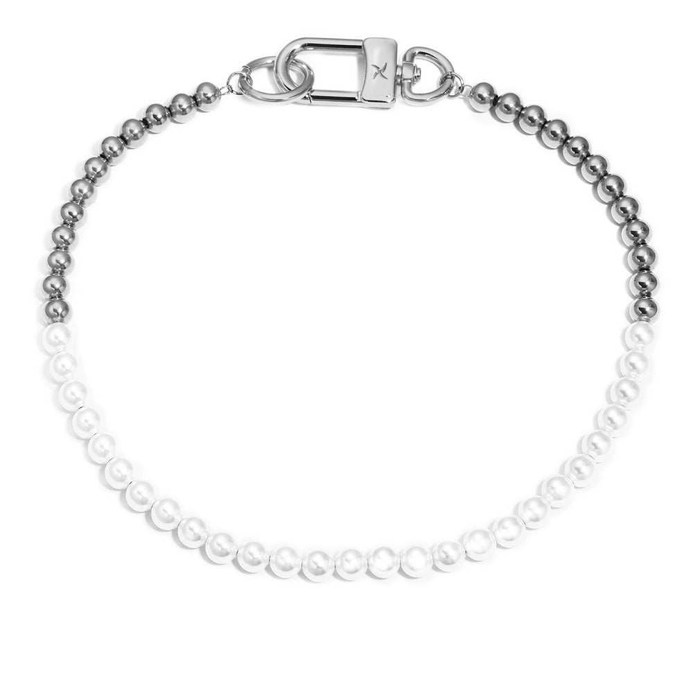 8mm Ball Chain/Glass Pearl Necklace (18K White Gold/Stainless Steel)