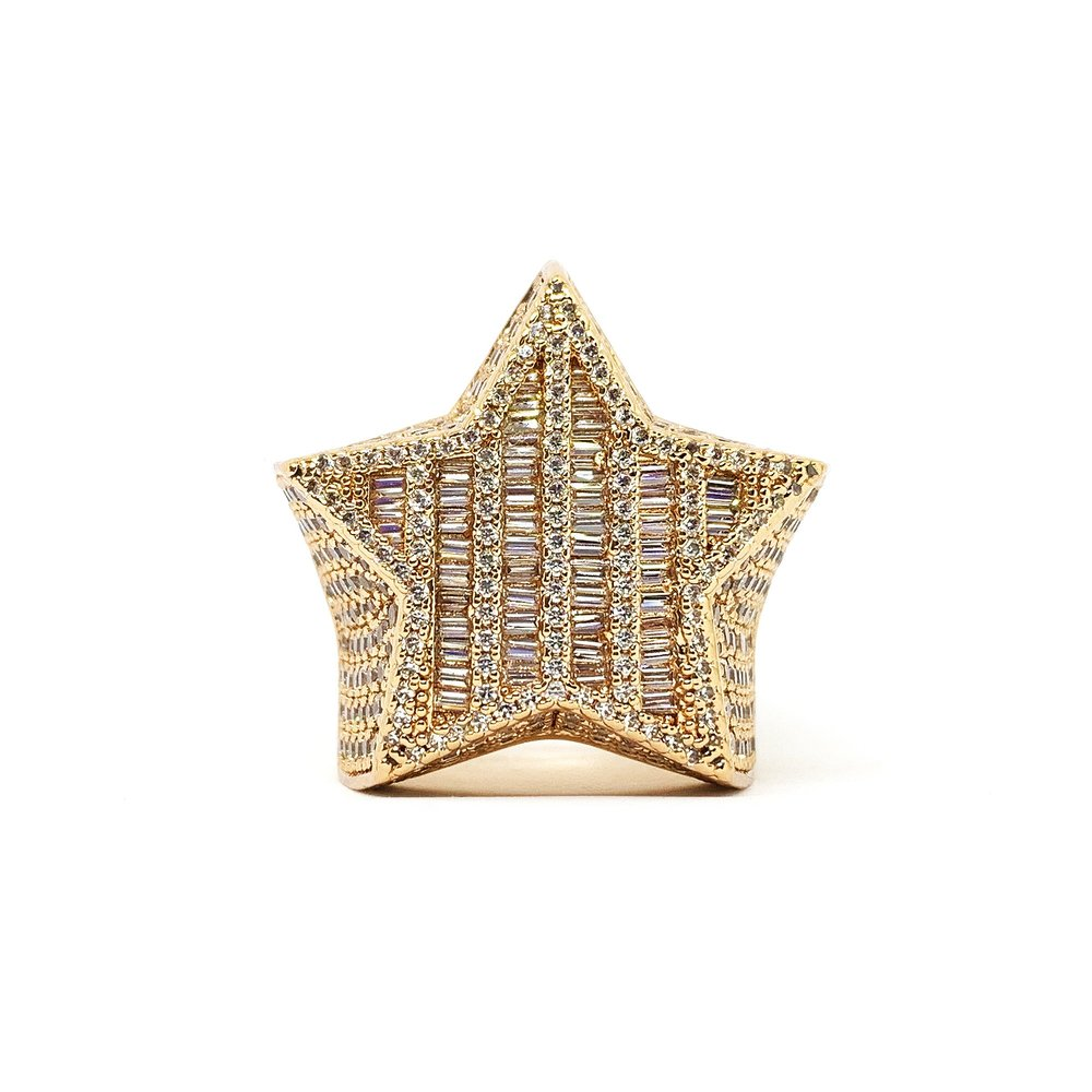 Baguette Star Ring (14k Rose Gold) - Kuyashii Jewelry