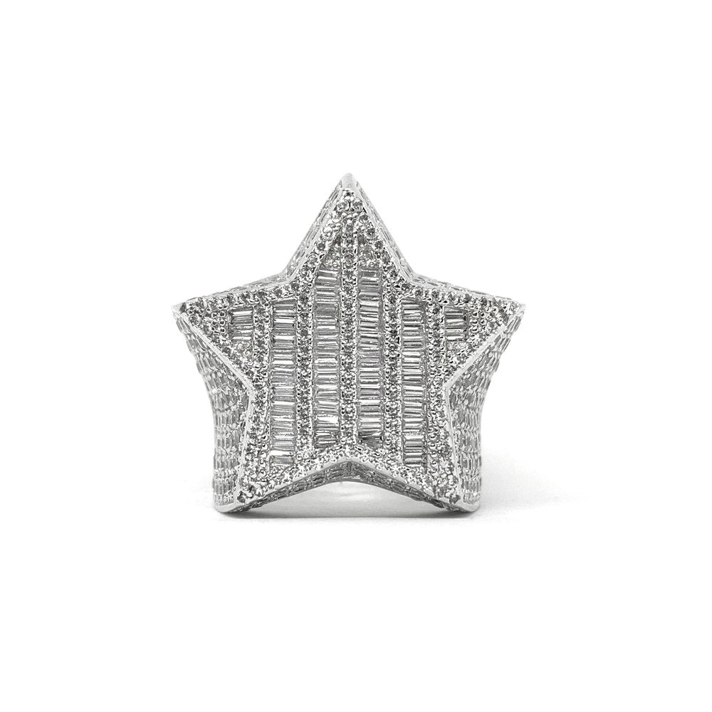 Baguette Star Ring (14k White Gold) - Kuyashii Jewelry