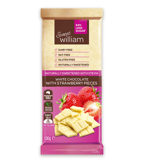 Sweet William White Chocolate with Strawberry Pieces - 100g
