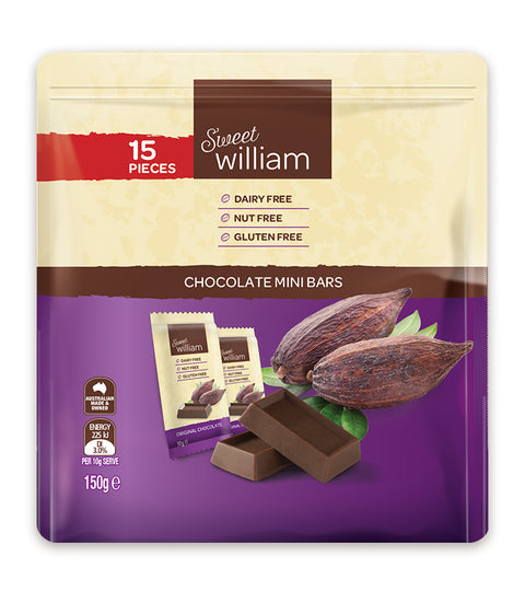 Sweet William Chocolate Mini Bars - 150g (15x10g bars)