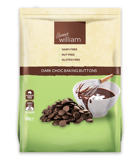 Sweet William Dark Choc Baking Buttons - 300g