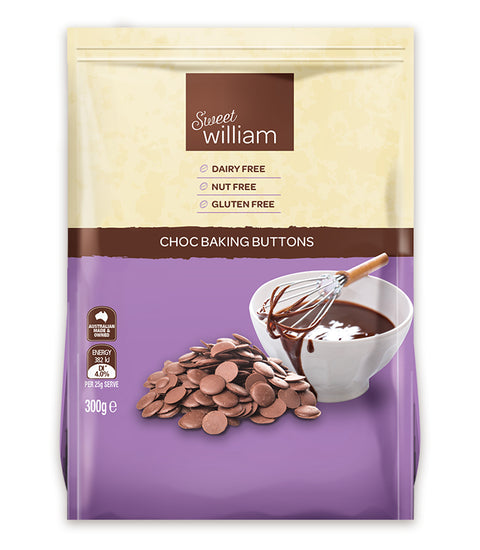 Sweet William Choc Baking Buttons - 300g
