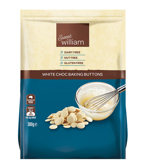 Sweet William White Choc Baking Buttons - 300g