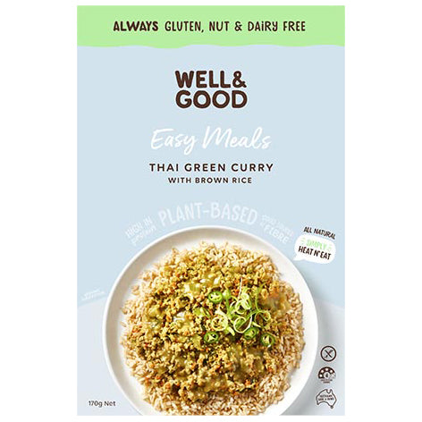 Well & Good Easy Meals Thai Green Curry with Brown Rice - 170g