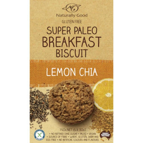 Naturally Good Breakfast Biscuit - Paleo Lemon Chia - 150g (5x 30g) - GF Pantry