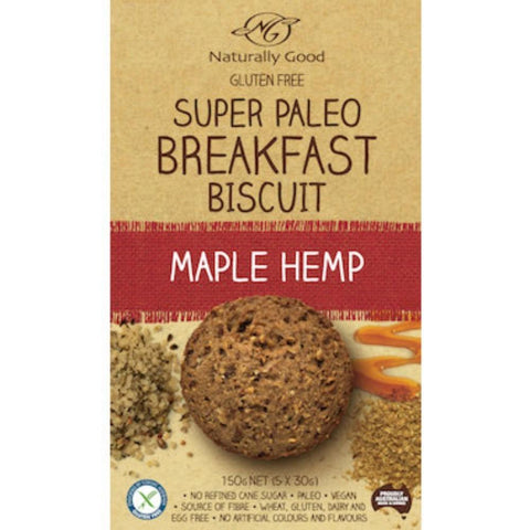Naturally Good Breakfast Biscuit - Paleo Maple Hemp - 150g (5x 30g) - GF Pantry