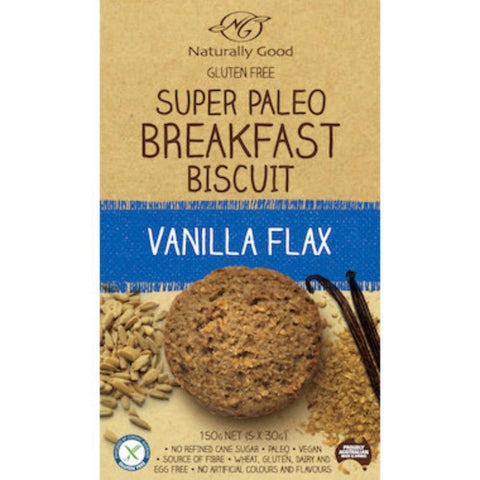 Naturally Good Breakfast Biscuit - Paleo Vanilla Flax - 150g (5x 30g) - GF Pantry