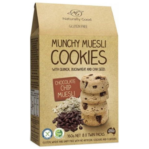 Naturally Good Munchy Muesli Cookies Chocolate Chip - 160g - GF Pantry