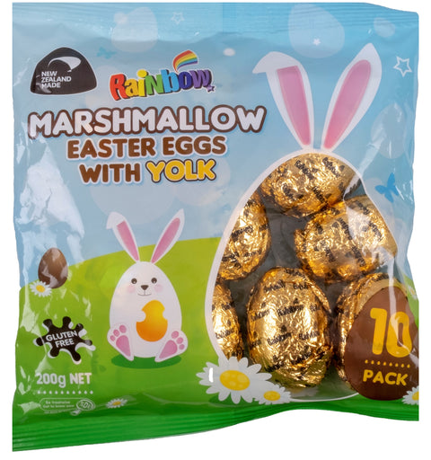 Rainbow Confectionery Marshmallow Easter Eggs with Yolk Foil Pack - 200g