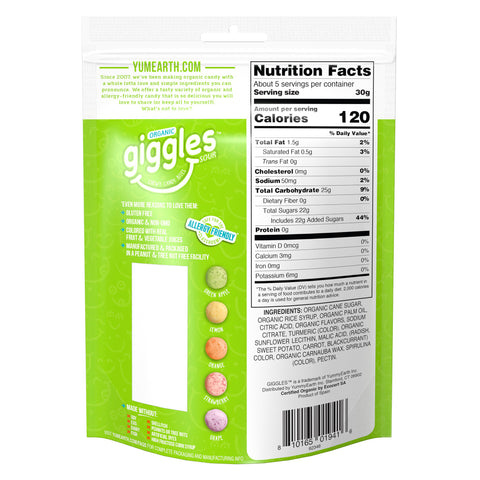 Yum Earth Organic Sour Candy Giggles - 142g