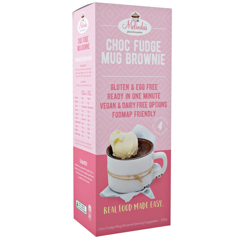 Melinda's Choc Fudge Mug Brownie - 200g, makes 4