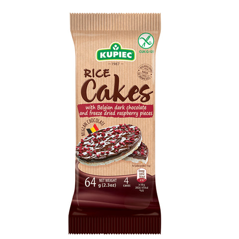 Kupiec Belgian Dark Chocolate Rice Cakes with Raspberry Pieces  - 64g