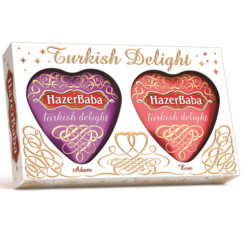 Hazerbaba Turkish Delight Adam & Eve Heart Tins Gift Box - 250g