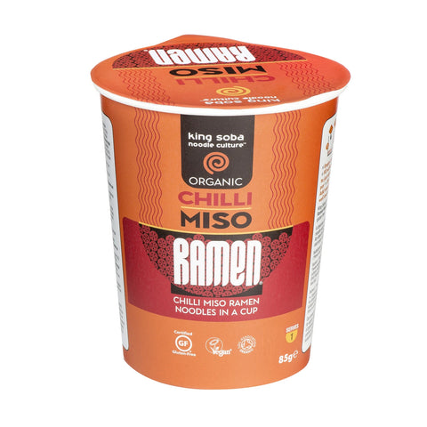 King Soba Organic Chilli Miso Ramen Noodle Cup - 85g