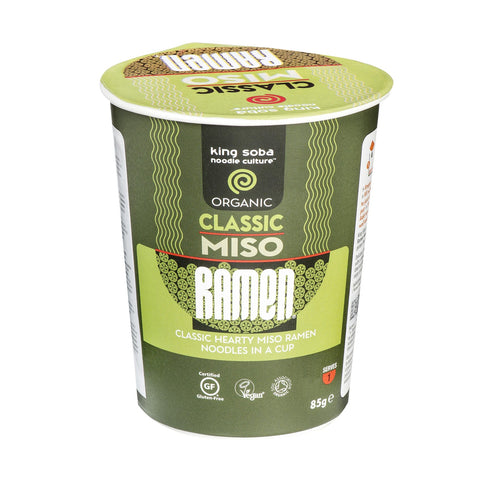 King Soba Organic Classic Miso Ramen Noodle Cup - 85g