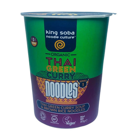 King Soba Organic Thai Green Curry Noodle Cup - 80g
