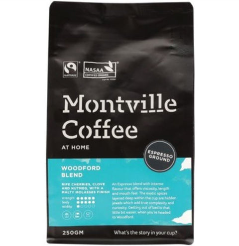 Montville Coffee Organic Woodford Blend Coffee - Espresso 250g