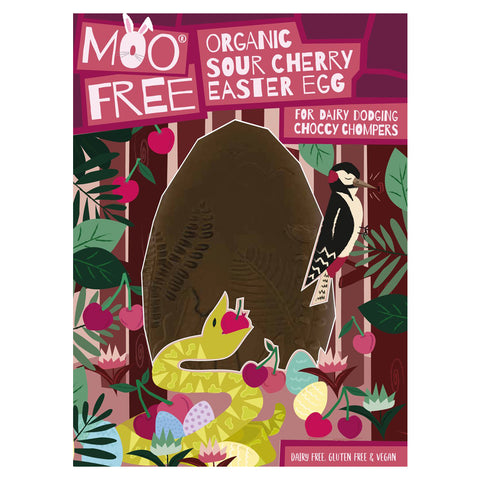 "Moo Free Organic Sour Cherry ""Milk"" Chocolate Easter Egg - 140g"