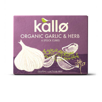 Kallo Organic Garlic and Herb Stock Cubes - 6 Cubes (66g)