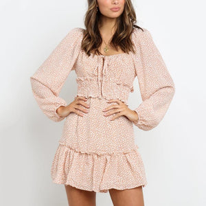Polka Dot Puff Sleeve Mini Dress