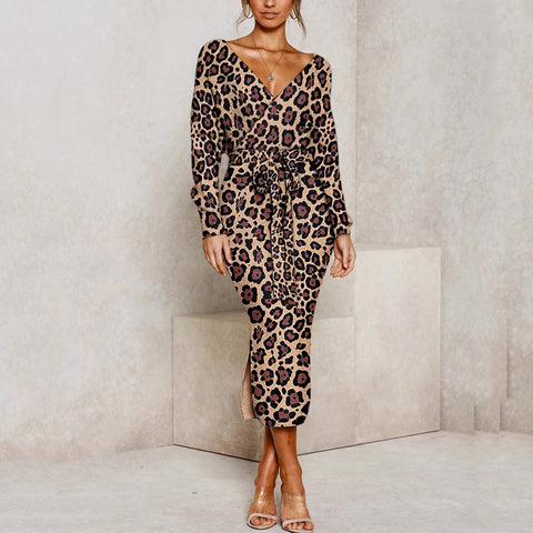 Retro Deep v Leopard Print Belted Split Batwing Sleeves Dress