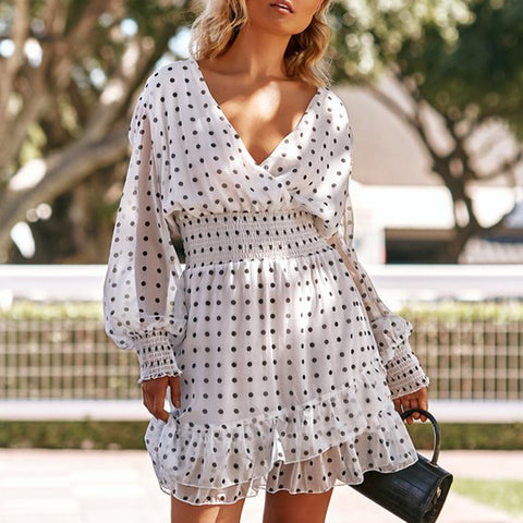 Retro Deep V Polka Dot Long Lantern Sleeves Ruffled Dress