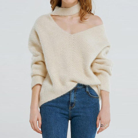 Stylish Off Shoulder Long Sleeve Loose Sweater