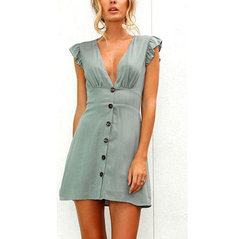 Sexy V Collar Solid Color Button Decorated Mini Dress
