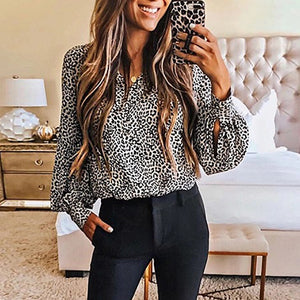 Women's Fashion V-Neck Long Sleeve Leopard Print Blouse