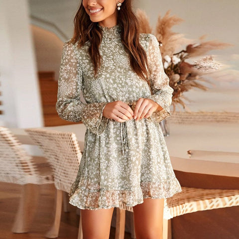 High-Neck Long-Sleeved Waist   Print Mini Dress