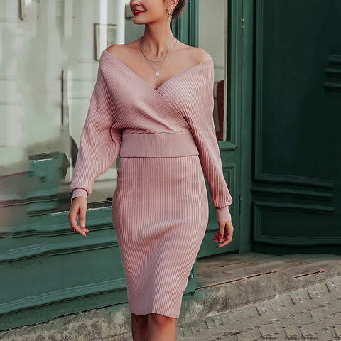 Sexy Deep V Off-Shoulder Long Sleeves Knit Midi Dress