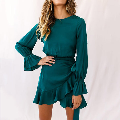 Women's fashion pure color ruffled trumpet sleeve dress