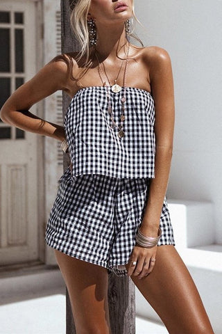 Casual Small Lattice Tube Top   Strapless Jumpsuit