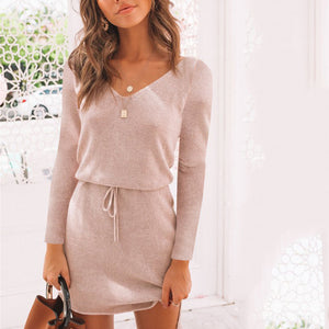 Sexy V-Neck Lace Long Sleeve Irregular Female Mini Dress