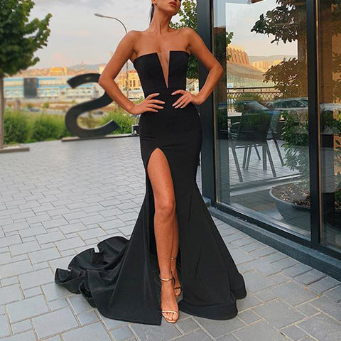 Women's Sexy Deep V-Neck Resist Tube top Slit Evening Dress