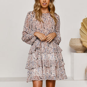 Elegant Women Printed Ruffled Cascading Dress