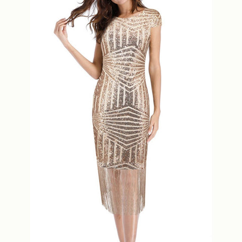 Round Neck Fringe Glitter Plain Midi Bodycon Dress