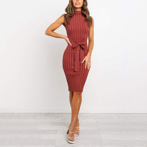 Women's Fashion Sleeveless Belted Stand Collar Knit Dress