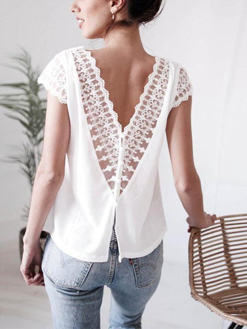 Sexy Backless Lace Patchwork Hollow Out V Neck Blouse