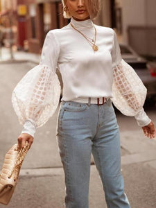 Autumn Fashion Pure Color Lace Bubble Sleeves Blouse