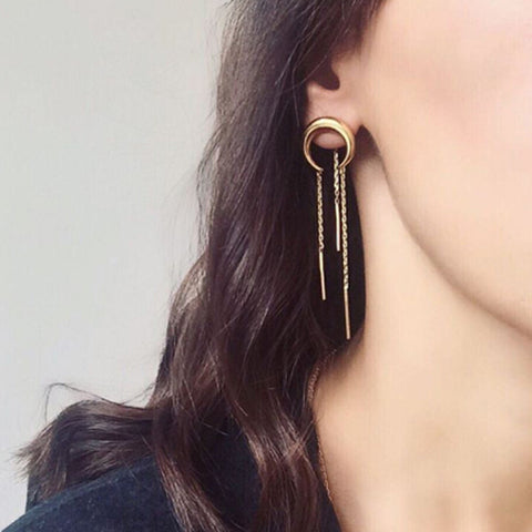 Fashion Moon Arc Tassel Earring